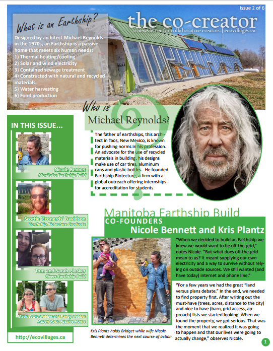 Cover of Issue No. 2 of The Co-Creator, Earthships