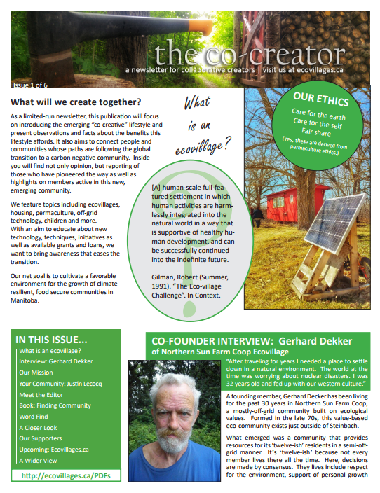 Cover of Issue No. 1 of The Co-Creator, Ecovillages